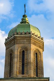 Close Up Of Orthodox Church With Old Architecture On Beautiful Sky.