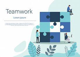 Business concept teamwork . Team business metaphor. Business teamwork people connecting puzzle elements. Vector teamwork business illustration flat design style. Symbol of business teamwork, business cooperation, business partnership.