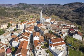 An Aerial Shot Of Beram, Small Picturesque Village In Istria, Croatia