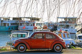 02/02/2020 Kartal, Istanbul : Go Around With Orange Vintage Car At Winter Season In Istanbul, Turkey