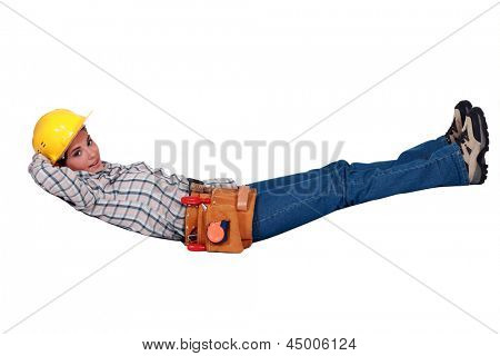 Tradeswoman floating in the air