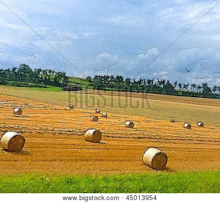 illustration of a summertime field with rolls of hay
