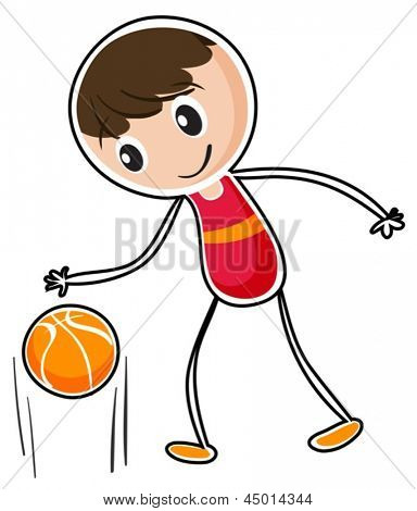 Illustration of a boy dribbling a ball on a white background