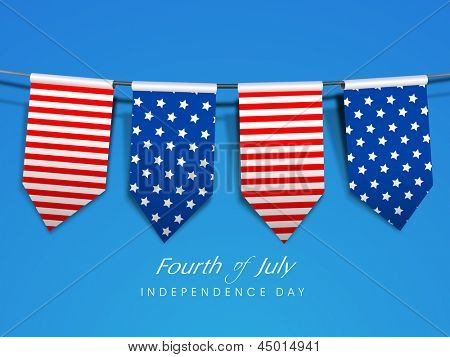 American Independence Day background with flag ribbons and  text Fourth of July. poster