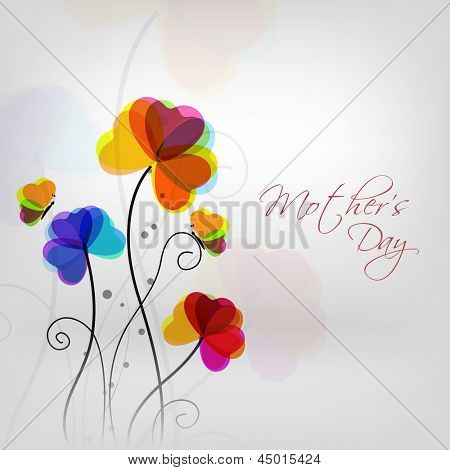 Colorful flowers with text Mothers Day on grey background.
