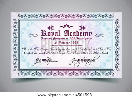 Certificate for differrent with a lot of details and filigrans. Regal and elegant design. Ready to use.