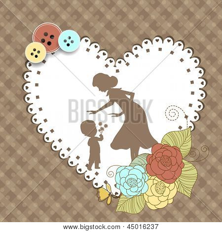 Happy Mothers Day vintage background in heart shape of silhouette of mother with her child.