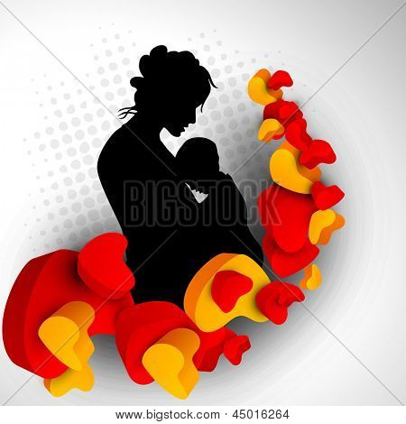 Silhouette of a mother and child with hearts on grey abstract background.