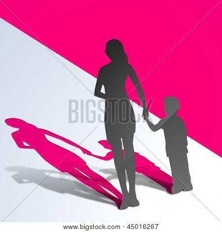 Happy Mothers Day concept with silhouette of a mother holding hand on her child on pink abstract background