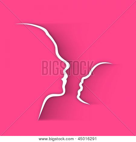 Line art design with of a mother and her child face on pink background, Happy Mothers Day concept.