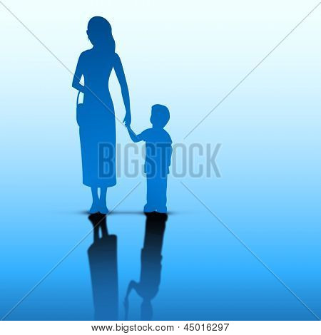 Abstract Happy Mothers Day concept with silhouette of a mother holding hand on her child on blue background..