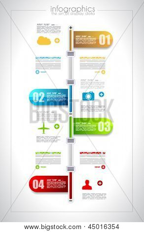 Infographic timeline design template with paper tags. Idea to display information, ranking and statistics with orginal and modern style.