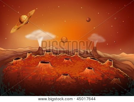 Illustration of the outer space with planets