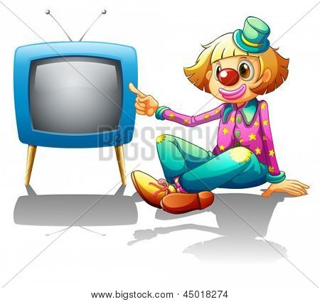 Illustration of a clown sitting beside the television on a white background