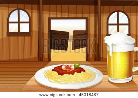 Illustration of a spaghetti and a glass of beer inside the saloon bar