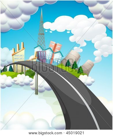 Illustration of a road going to the city