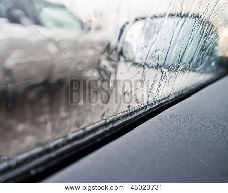 car driving in rain