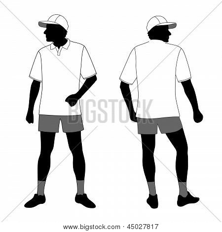T-shirt. Men's polo shirt template with men body silhouette and baseball cap