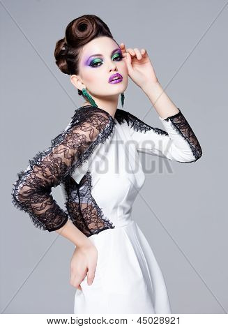 Beautiful Woman Dressed Elegant Posing Glamorous - Studio Fashion Shot