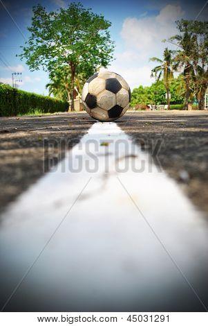 Football On Edge Line