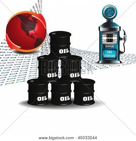 Oil barrels and gas pump