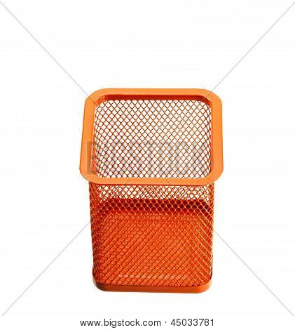 Orange Empty Holder Cup For Pens Isolated On White Background