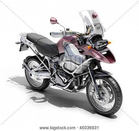 Dual-sports motorcycle close-up on a light background