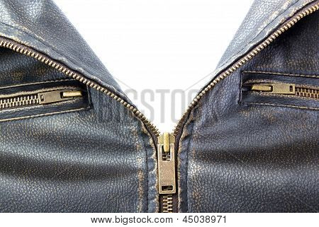 Zipper On Brown Leather Motorcycle Jacket
