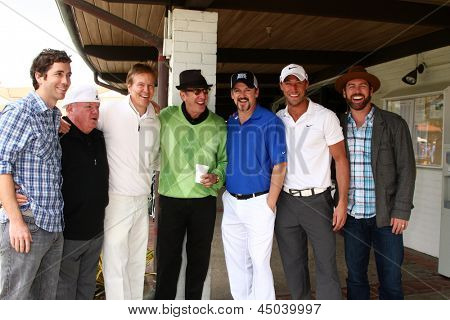 LOS ANGELES -APR 15: Zach Jones, Jack McGee, Jack Wagner, Tim Allen, Troy Burgess, Kyle Lowder, Guest at the Jack Wagner Golf Tournament  at the Lakeside Golf Club on April 15, 2013 in Toluca Lake, CA