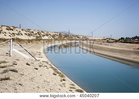 Irrigation Canal supplying water to the crops of the Coachella Valley poster