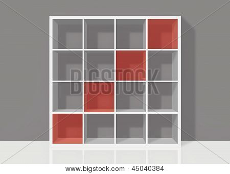 White Empty Square Bookshelf With Red Diagonal Elements On Grey Wall Background