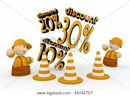 discount icon  with two cute 3d characters