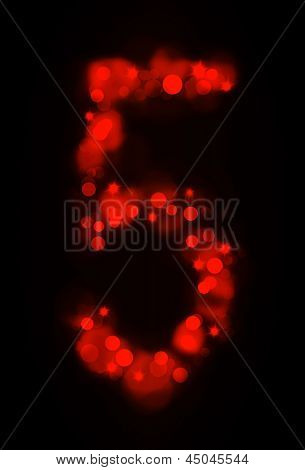Numerical symbols with glowing lights