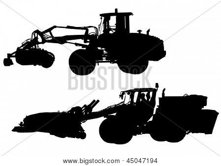 drawing of large tractors for construction