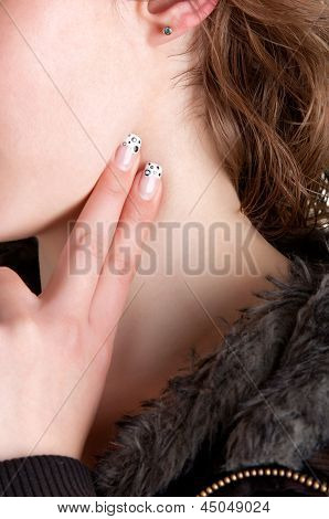 Woman checking her heart heart rate holding her fingers to her neck poster