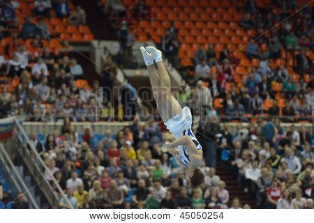 MOSCOW, RUSSIA - APRIL 20: Alexander Shatilov, Israel performs the floor exercise in the final of 5th European Championships in Artistic Gymnastics in Moscow, Russia on April 20, 2013