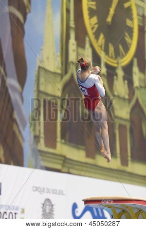 MOSCOW, RUSSIA - APRIL 20: Noel van Klaveren, Netherlands performs vault in the final of 5th European Championships in Artistic Gymnastics in Moscow, Russia on April 20, 2013