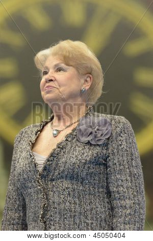 MOSCOW, RUSSIA - APRIL 20: 9-fold Olympic Champion Larisa Latynina during 5th European Championships in Artistic Gymnastics in Moscow, Russia on April 20, 2013