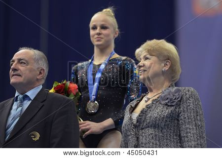 MOSCOW, RUSSIA - APRIL 20: Georges Guelzec (left), Larisa Latynina (right), and Jonna Adlerteg, Sweden during 5th European Championships in Artistic Gymnastics in Moscow, Russia on April 20, 2013