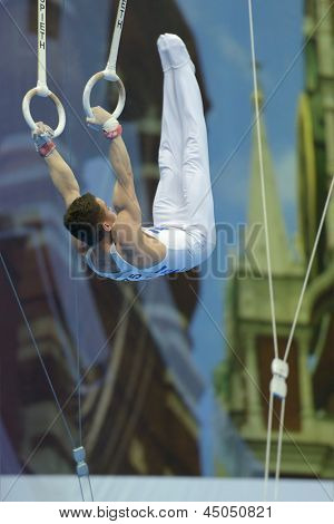 MOSCOW, RUSSIA - APRIL 20: Eleftherios Petrounias, Greece finished exercise on still rings in final of 5th European Championships in Artistic Gymnastics in Moscow, Russia on April 20, 2013