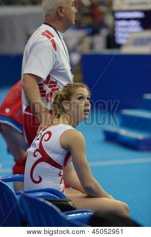 MOSCOW, RUSSIA - APRIL 21: Giulia Steingruber, Switzerland waits for results of floor exercise in final of 5th European Championships in Artistic Gymnastics in Moscow, Russia on April 21, 2013