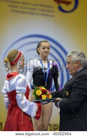 MOSCOW, RUSSIA - APRIL 21: Larisa Andreea Iordache, Romania win gold on balance beam in final of 5th European Championships in Artistic Gymnastics in Moscow, Russia on April 21, 2013