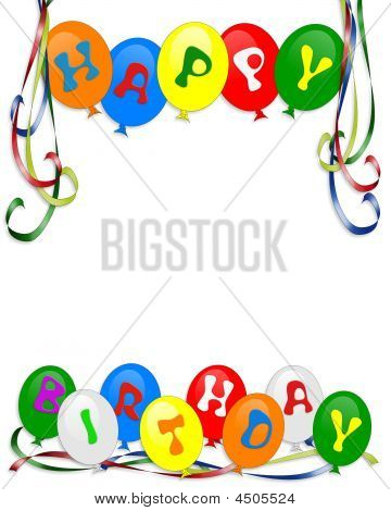 Happy Birthday Balloons Border