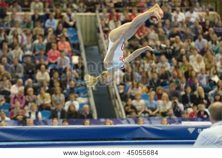 MOSCOW, RUSSIA - APRIL 21: Giulia Steingruber, Switzerland performs floor exercise in final of 5th European Championships in Artistic Gymnastics in Moscow, Russia on April 21, 2013
