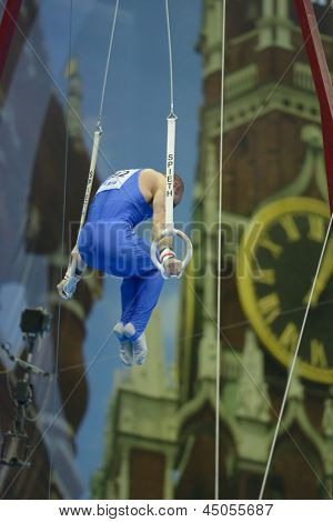 MOSCOW, RUSSIA - APRIL 20: Matteo Morandi, Italy performs exercise on still rings in final of 5th European Championships in Artistic Gymnastics in Moscow, Russia on April 20, 2013