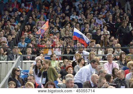 MOSCOW, RUSSIA - APRIL 21: Fans support the athletes in final of 5th European Championships in Artistic Gymnastics in Moscow, Russia on April 21, 2013