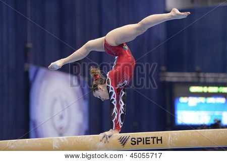 MOSCOW, RUSSIA - APRIL 21: Carlotta Ferlito, Italy performs exercise on balance beam in final of 5th European Championships in Artistic Gymnastics in Moscow, Russia on April 21, 2013