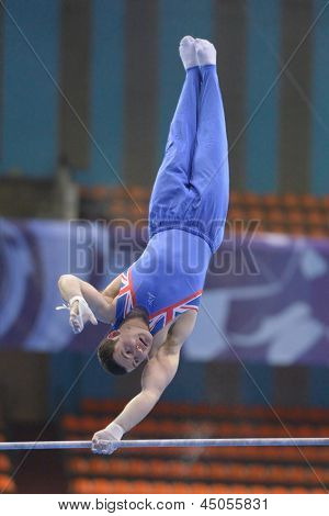 MOSCOW, RUSSIA - APRIL 21: Ashley Watson, Great Britain performs exercise on high bar in final of 5th European Championships in Artistic Gymnastics in Moscow, Russia on April 21, 2013
