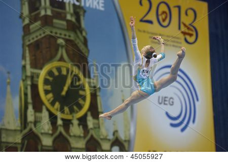 MOSCOW, RUSSIA - APRIL 21: Olena Vasylieva, Ukraine performs exercise on balance beam in final of 5th European Championships in Artistic Gymnastics in Moscow, Russia on April 21, 2013