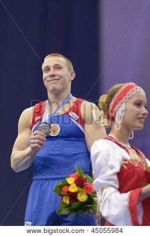MOSCOW, RUSSIA - APRIL 21: Denis Ablyazin, Russia win gold in vault on 5th European Championships in Artistic Gymnastics in Moscow, Russia on April 21, 2013